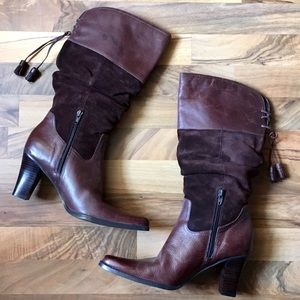 a.n.a Shoes - ANA Brown Suede Leather Heeled Tall Boots Size 8
